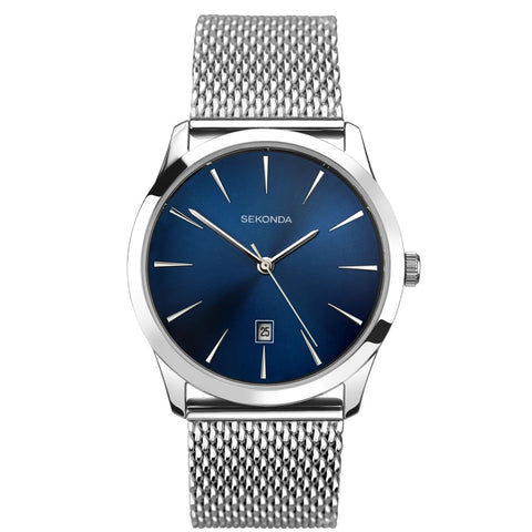 Sekonda Gents Steel Blue Dial Mesh Bracelet Date Watch