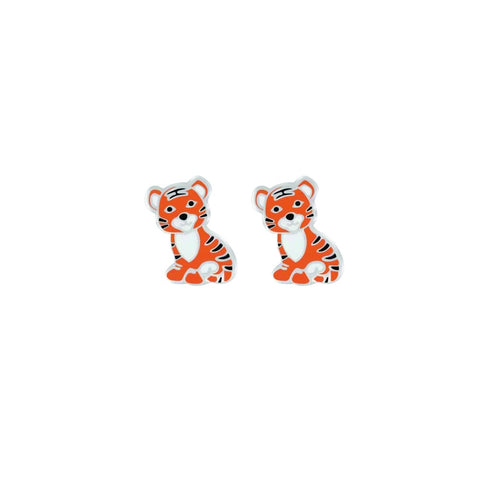 Sterling Silver & Enamel Tiger Earrings