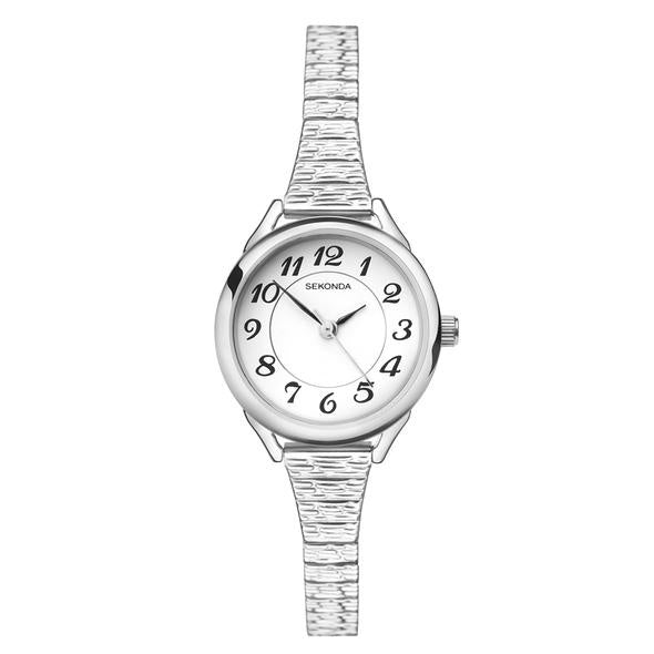 Sekonda Ladies Silver Flex Band Watch - Silver/White - gsmshop.com.au