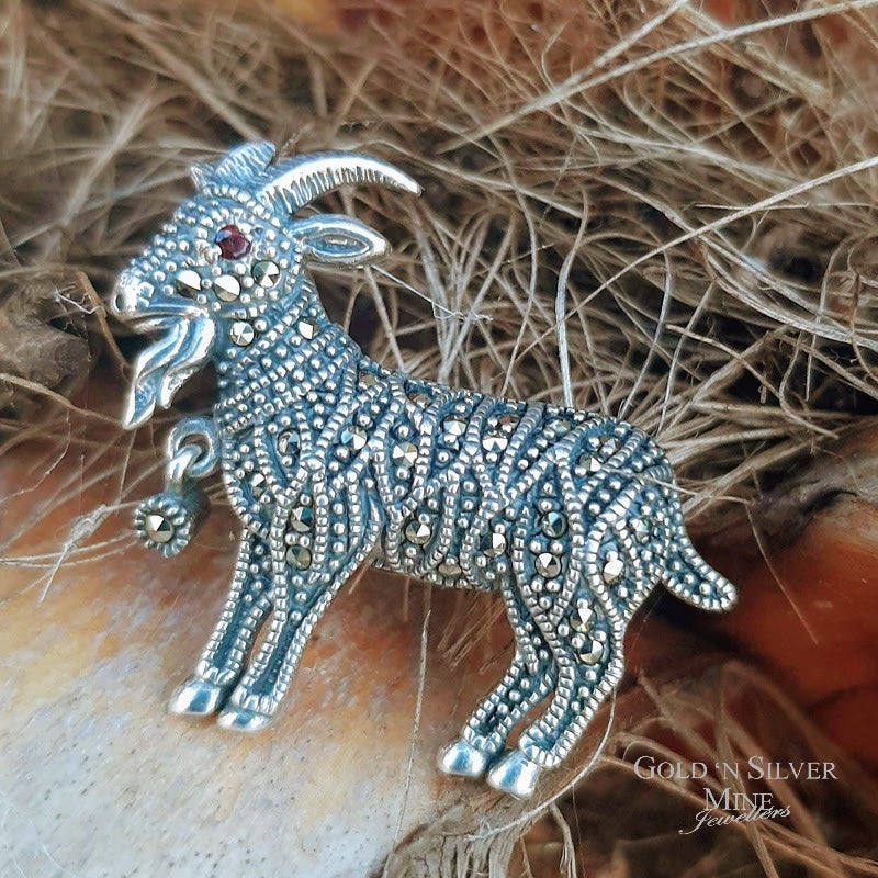 LOONA Sterling Silver & Marcasite 'Goat' Brooch