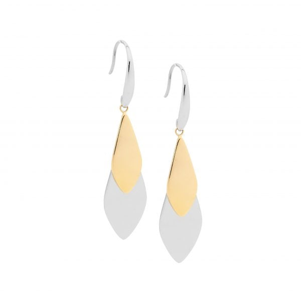 Ellani 2 Tone Sil/GP Overlap Tear Drop Earrings - gsmshop.com.au