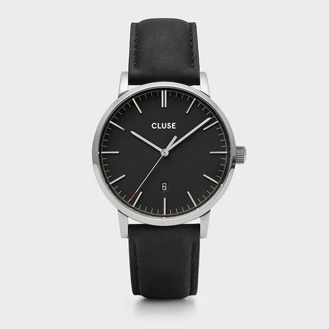 CLUSE Mens Aravis Silver/Black - Black Leather Band