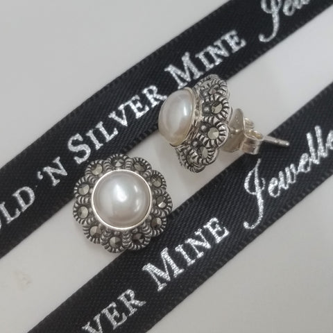 Sterling Silver Marcasite & FWP Stud Earrings