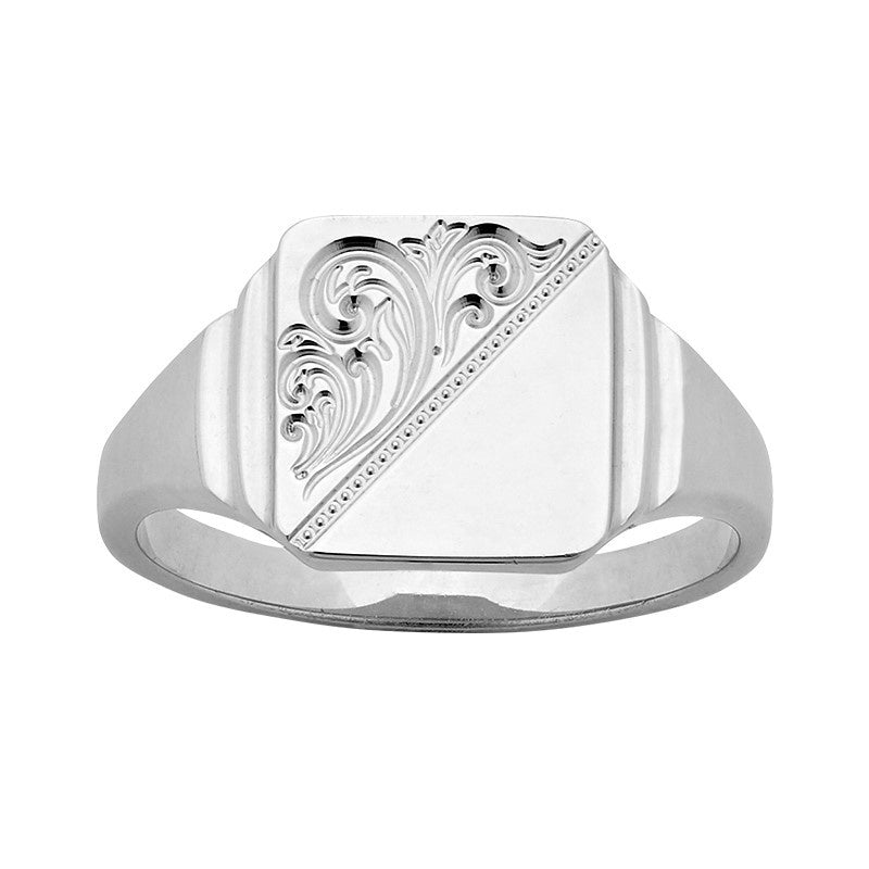 Mens Sterling Silver Engraved Square Signet Ring