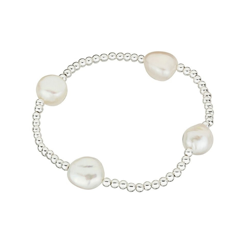 Sterling Silver Ball & Pearl Stretch Bracelet
