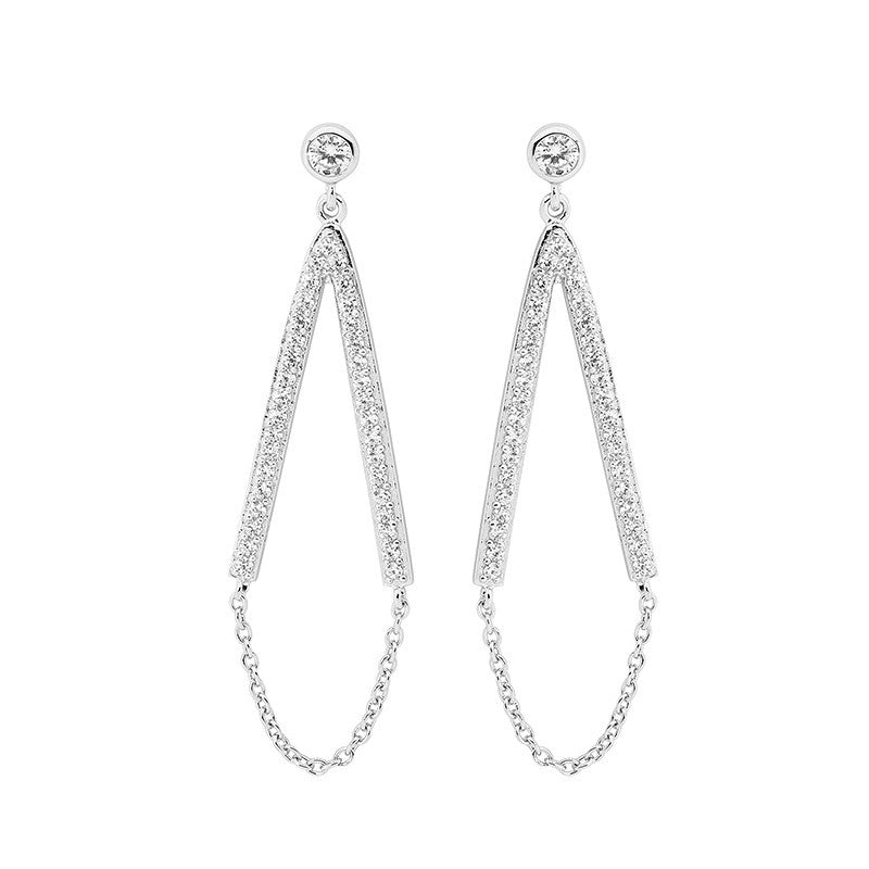 "Ellani Sterling Silver White CZ Long ""V"" Drop Earrings with Chain Feature"