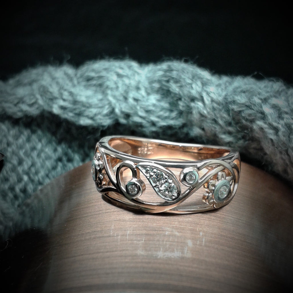 9ct Rose Gold Filigree Ring with Diamonds - gsmshop.com.au