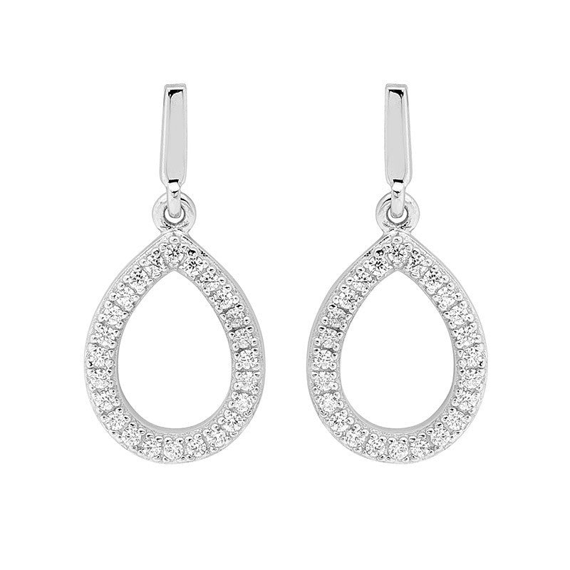 Ellani Sterling Silver CZ Tear Drop Earrings - gsmshop.com.au