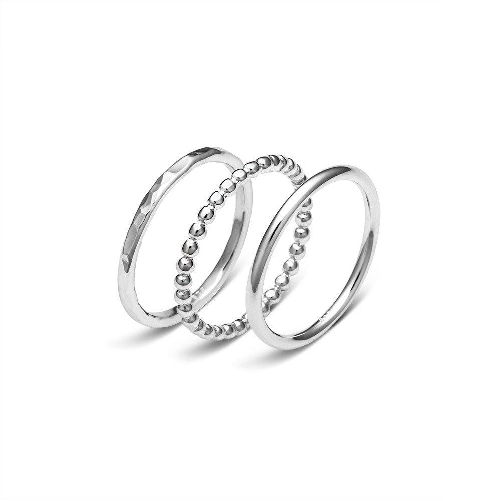 Sterling Silver Ball, Hammered & Plain Stacker Rings (Set)