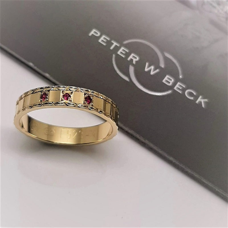 Peter W Beck 9ct Yellow Gold Faceted Ruby Ring