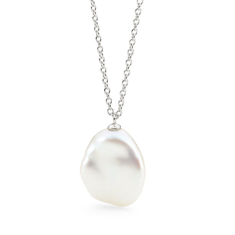 Ikecho Sterling Silver Keshi Pearl Drop Necklace