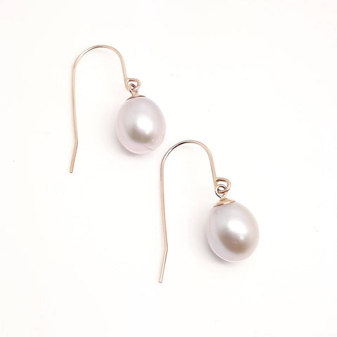 Ikecho 9ct Rose Gold Grey FWP Hook Earrings