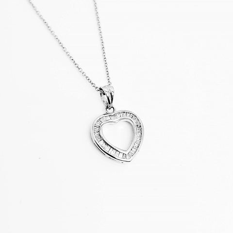 9ct White Gold Baguette Diamond Open Heart Pendant