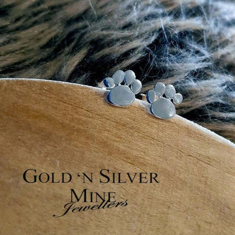 Sterling Silver 'Paw Print' Stud Earrings