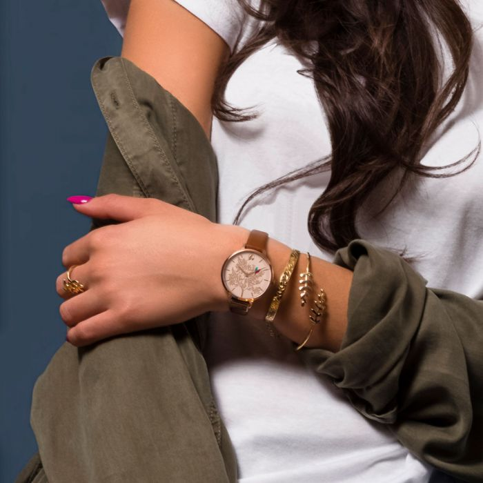 SARA MILLER 'Love Birds Watch' - Rose Gold/Tan - gsmshop.com.au
