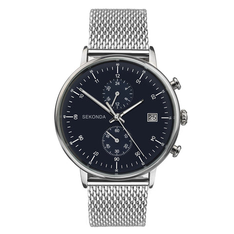 Sekonda Mens Black & Silver Watch