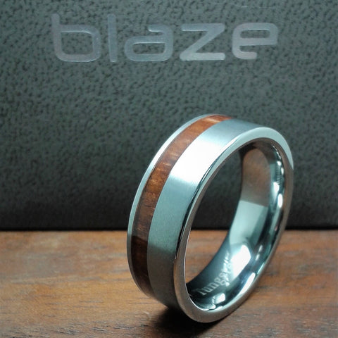 Tungsten Steel Mens Ring with Wood Inlay