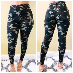 Because I Run It Camouflage High Waist Jeans
