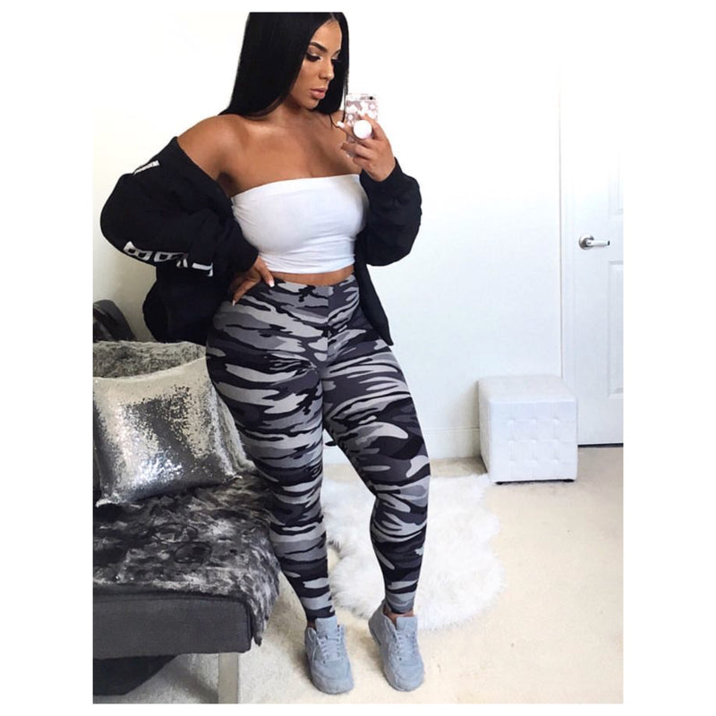 Keeping It Casual Grey Camouflage Leggings