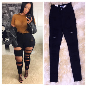 High Waist Black Destroyed Jeans