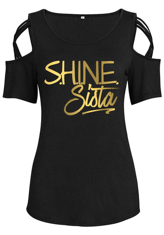 Shine Sista Cold Shoulders Criss Cross Top