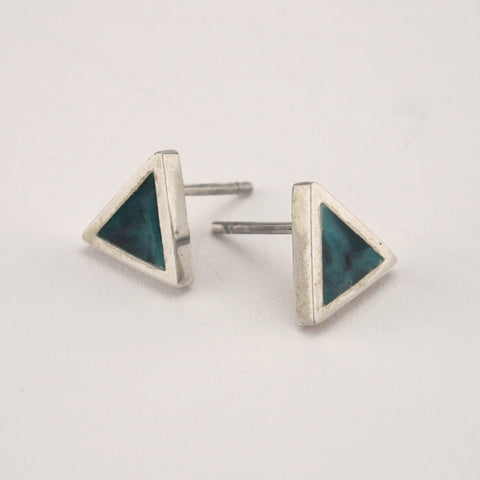 Triangle Studs with Colour | Silver and Blue