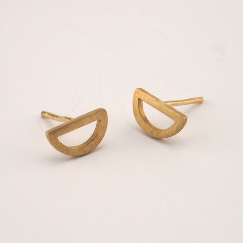 Outline Half Circle Studs | Gold Plate