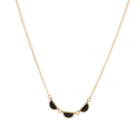 3 Half Circle Necklace | Gold and Black
