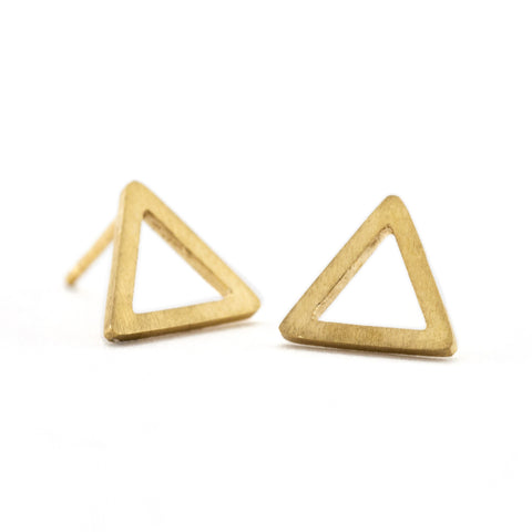 Outline Triangle Studs | Gold