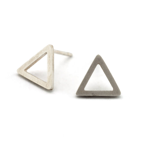 Outline Triangle Studs | Silver
