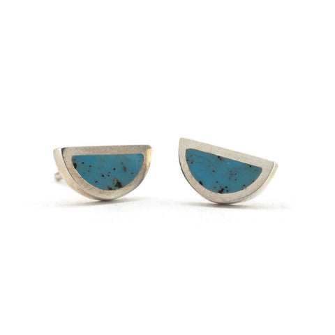 Half Circle Studs with Colour | Silver and Blue
