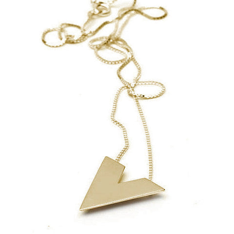 Diamond Bottom Pendant | Polished Yellow Gold Plate