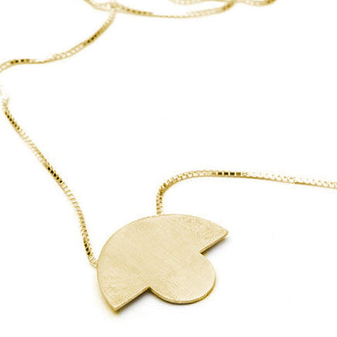 Round Top Pendant | Matt Yellow Gold Plate