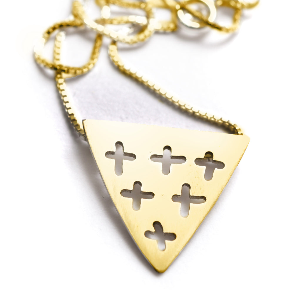 Cross Out Mini Pendant | Yellow Gold Plate