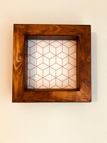 Floating picture frame rustic, geometric , Hand Made, walnut stained