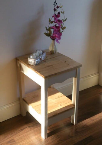 Hand made side table with shelf painted and waxed finish