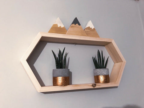Geometric Hexagon floating Shelf, solid pine, Hand Made natural finish