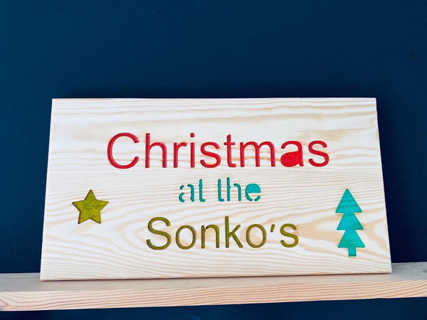 Personalised Christmas plaque sign wood and epoxy bespoke xmas