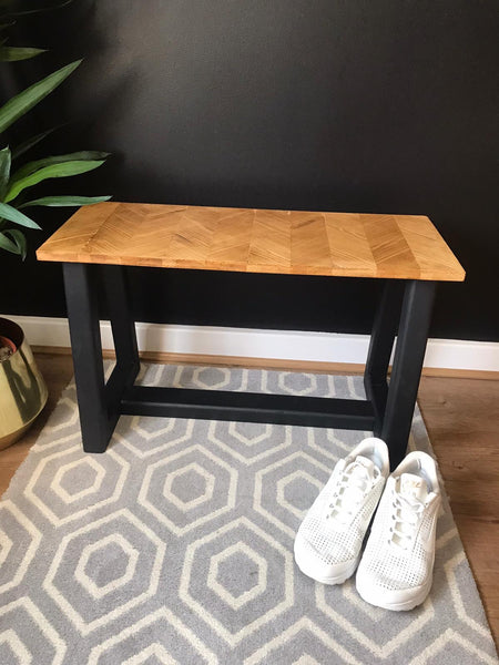 Wooden bench chevron solid wood top hand made to order