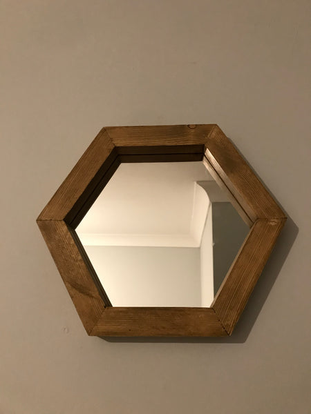 Hexagonal Hexagon Geometric Mirror Solid Wood Hand Made Finished In Dark Oak