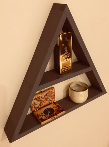 Floating Triangle With Shelf, Hand Made Hand Painted in dark grey