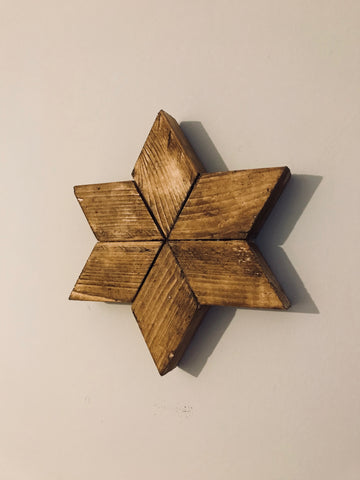 Geometric wall art six pointed star solid wood