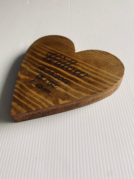 Wooden heart Engraved personalised births weddings milestones valentines
