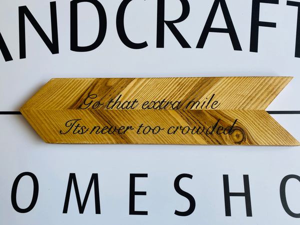 Personalised arrow plaques made to order bespoke text solid wood