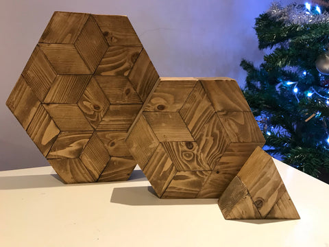 Hand made geometric honeycomb wooden plaques
