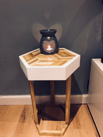 Geometric side table hand made solid pine