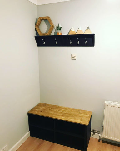 Shoe storage bench and coat rack, hand made finished , black and wood