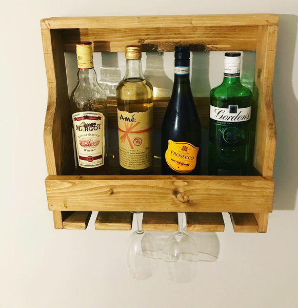Solid wood wine rack and glass holder bespoke occasion gift idea Hand Made to order