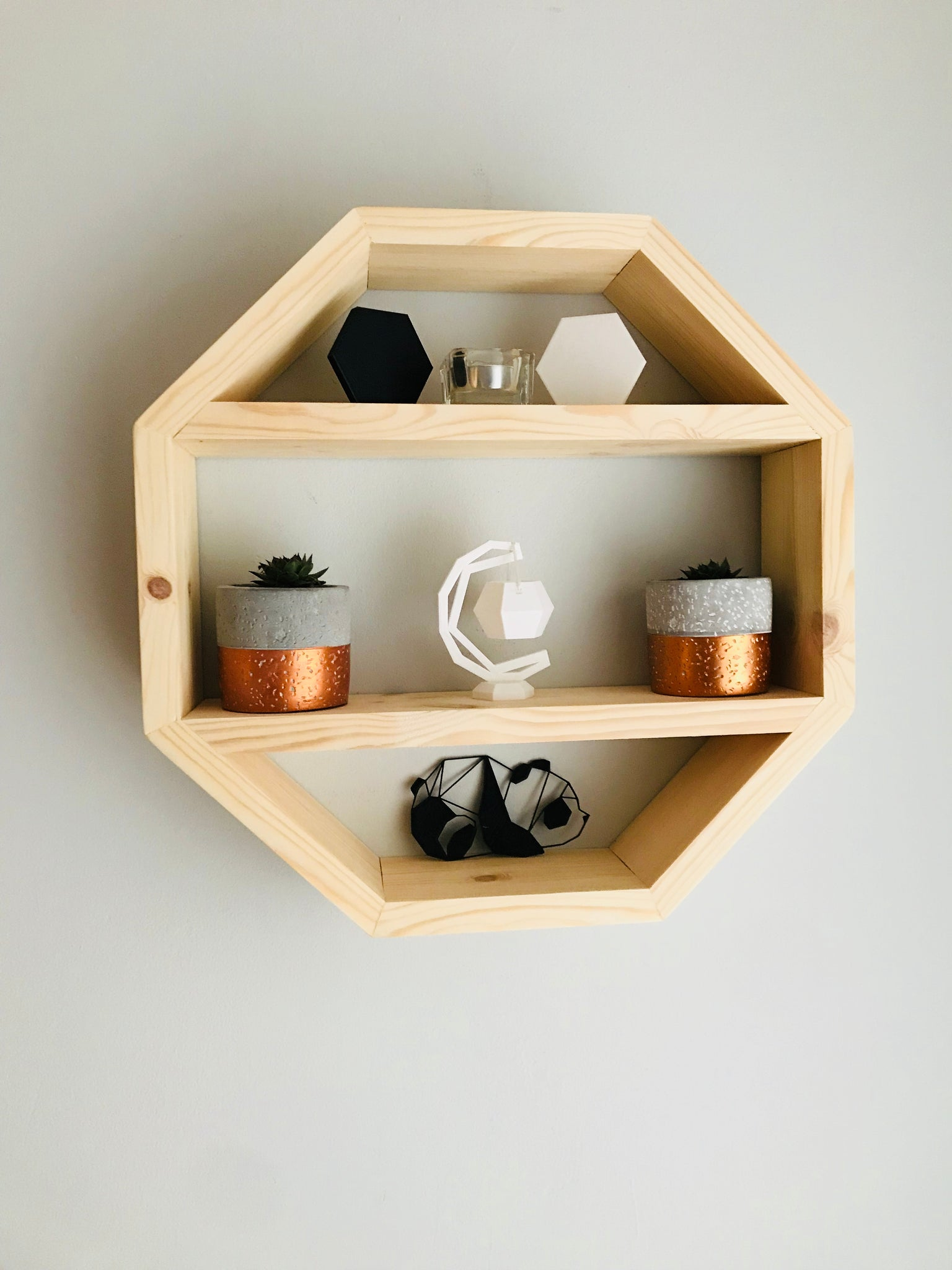 Floating geometric octagon shelf