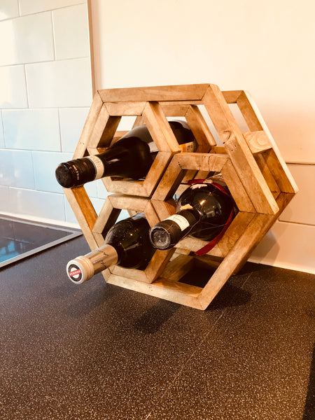 Solid wood wine rack and Hexagon Geometric bespoke occasion gift idea